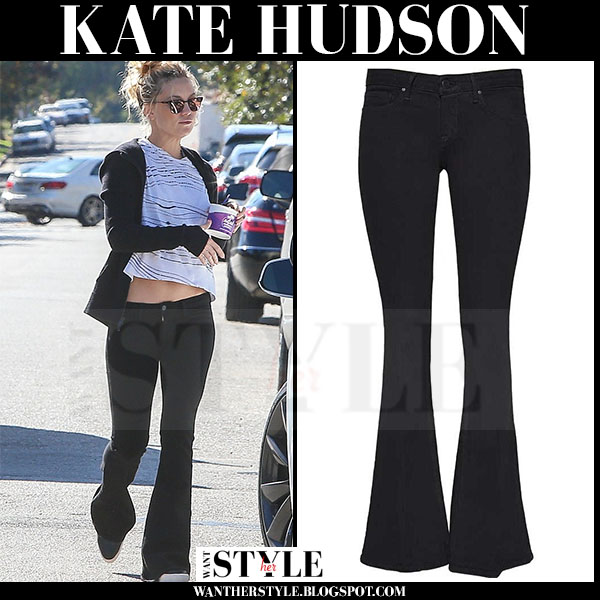 Kate Hudson in black flared lagence elysee jeans and mirrored sunglasses westward leaning vanguard 6 what she wore
