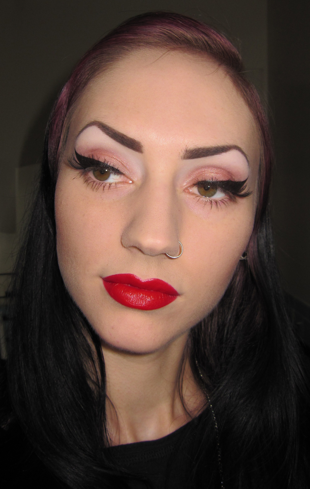 Glitter Is My Crack... Thick Black Liner And Red Lips Makeup Look