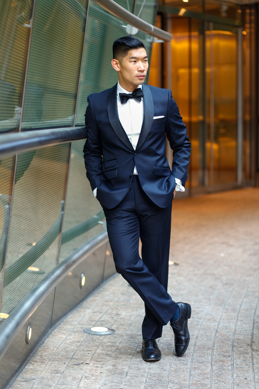Levitate Style, Leo Chan, Alicia Mara, menswear, James Bond Tuxedo, Holiday Tuxedo, Combant Gent