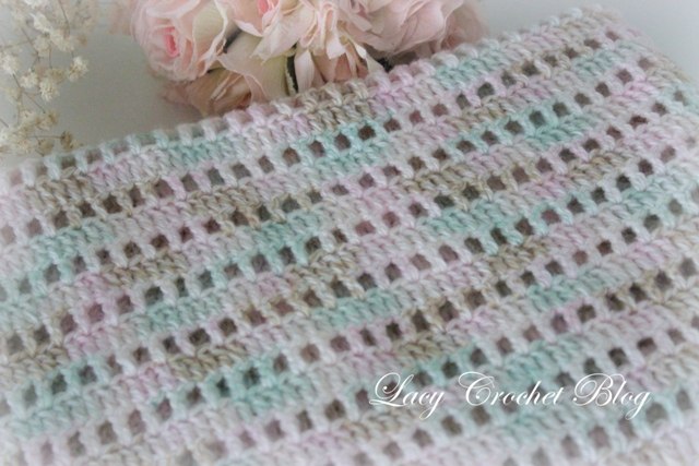 Crochet Baby Blanket Patterns Variegated Yarn : Lacy Crochet: Natural Girl Simple Baby Blanket in ...