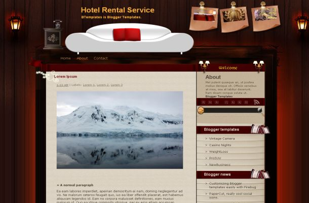 Free Blogger Hotels Wooden Brown Theme Template