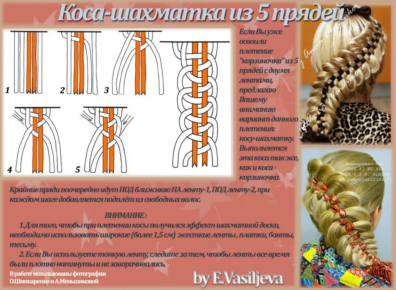 Плетение из 4 прядей схема фото