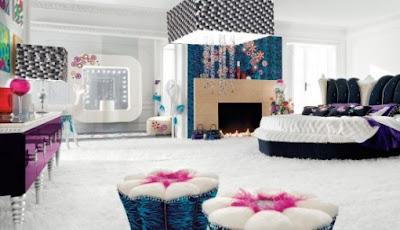 una rociada de flores y unas vendas de pao suave por todas partes y como un dormitorio de la princesa muebles con colores divertidos y de