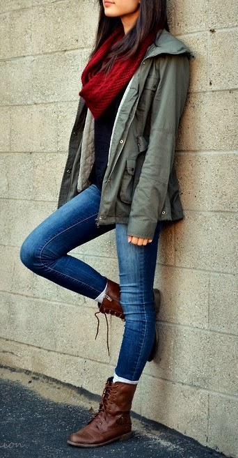 Red Scarf with Olive Jacket