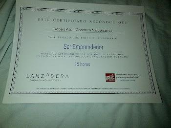 Certificado Lanzadera Emprendedor