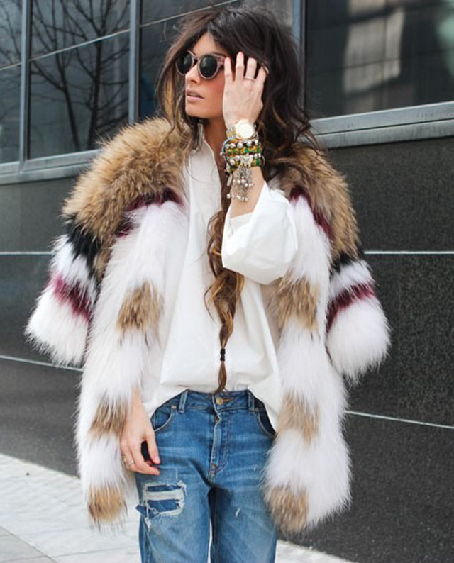 How to wear multi colored faux fur coat, winter 2014 big tend