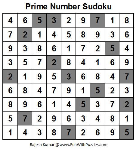 Prime Number Sudoku (Fun With Sudoku #28) Solution