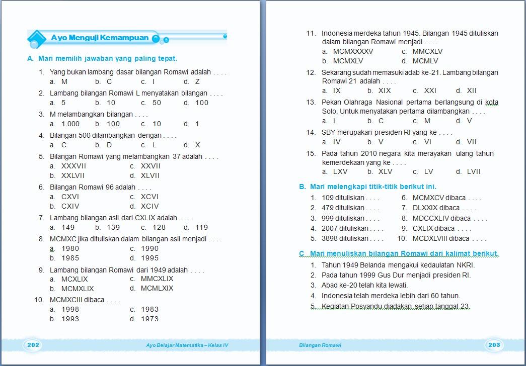 Matematika Bilangan Romawi Bab 7 Kelas 4 Sd Arrayhan E Learning