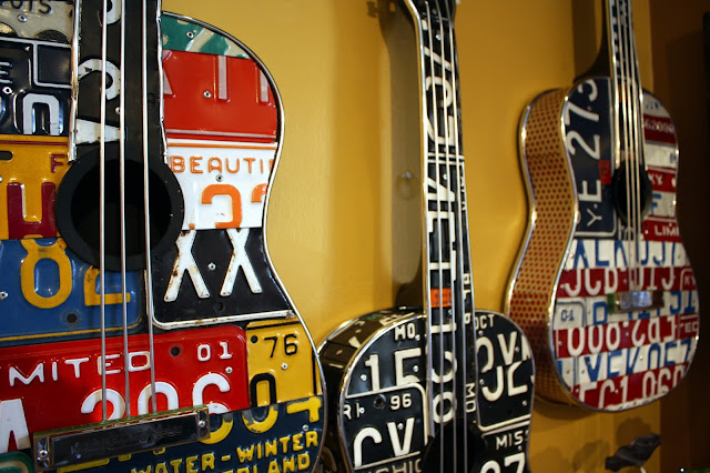 License Plate Guitar Art by Carol Braden