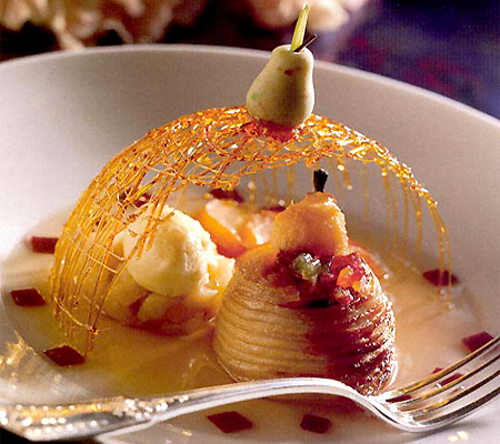 Roasted Pear with Port-Poached Pears and Vanilla Ice Cream Recipes