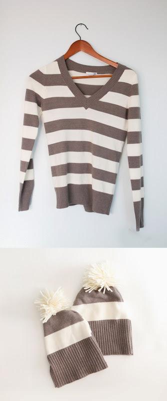 DIY σκουφάκι από ένα παλιό πουλόβερ!