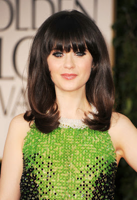 Zooey Deschanel Long Straight Cut with Bangs Hairstyle