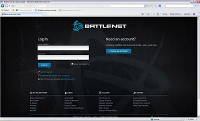 Strona stworzona przez cyberprzestępcę do kradzieży danych dostępowych użytkowników prawdziwego serwisu battle.net
