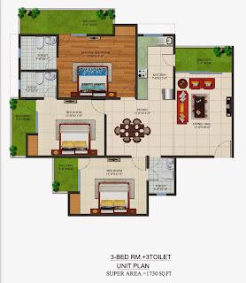Czar Suites :: Floor Plans:-Nicolas-4 Area - 1730 sq. ft.