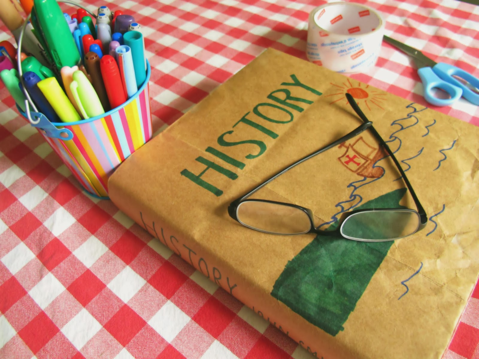 How To Make A Book Cover Out Of Paper Bag ~ Diy make textbook covers out of paper grocery bags eureka