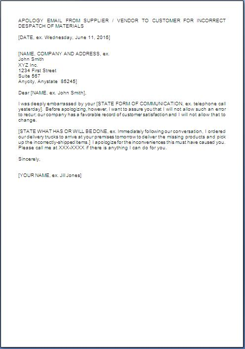 apologize letter to customer for wrong delivery