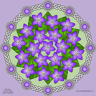 Violets and Amethyst Mandala