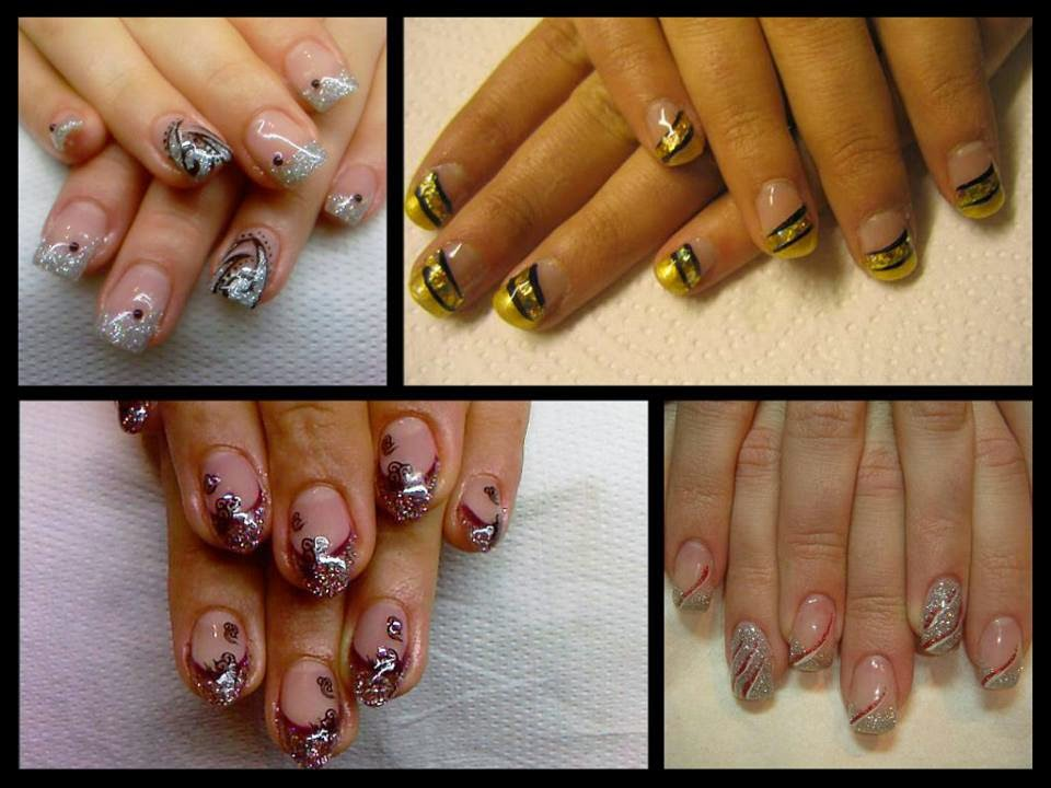 Acrylic-overlay-Shellac-Gold-Chrome-manicure-with-black-nail-art-acrylic-sculpts-LED-polish-silver-paint-glitz-and-foils