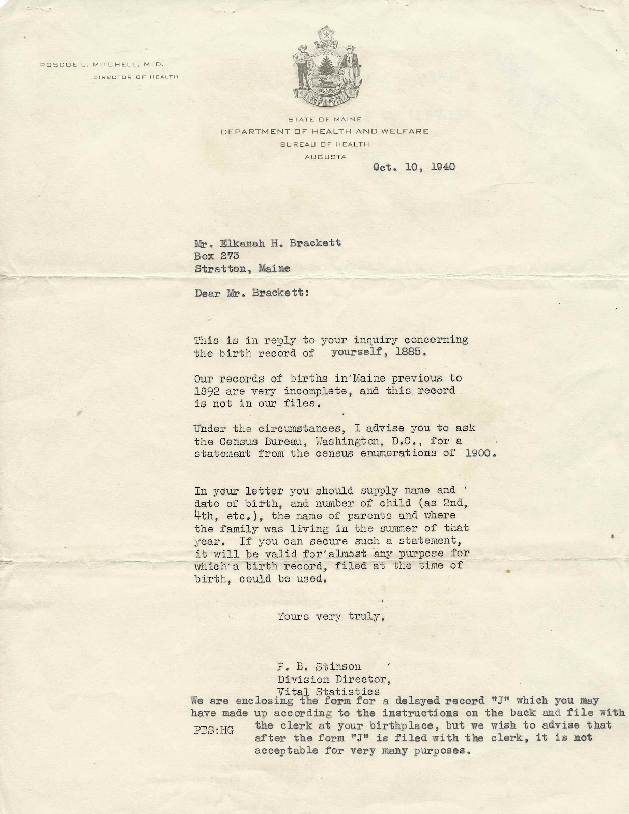 1940 letter from the state of maine to elkanah herbert brackett of october 10 1940 form letter reply from p b stinson director of the division of vital statistics of the state of maine department of health and welfare altavistaventures Image collections