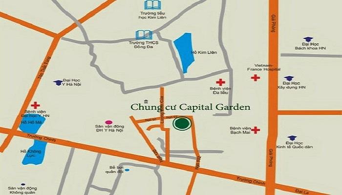 Vị trí chung cư Capital Garden 102 Trường Chinh Kinh Đô