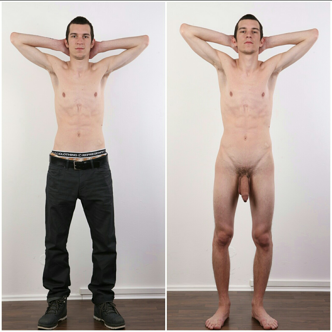 naked and Amateur men clothed