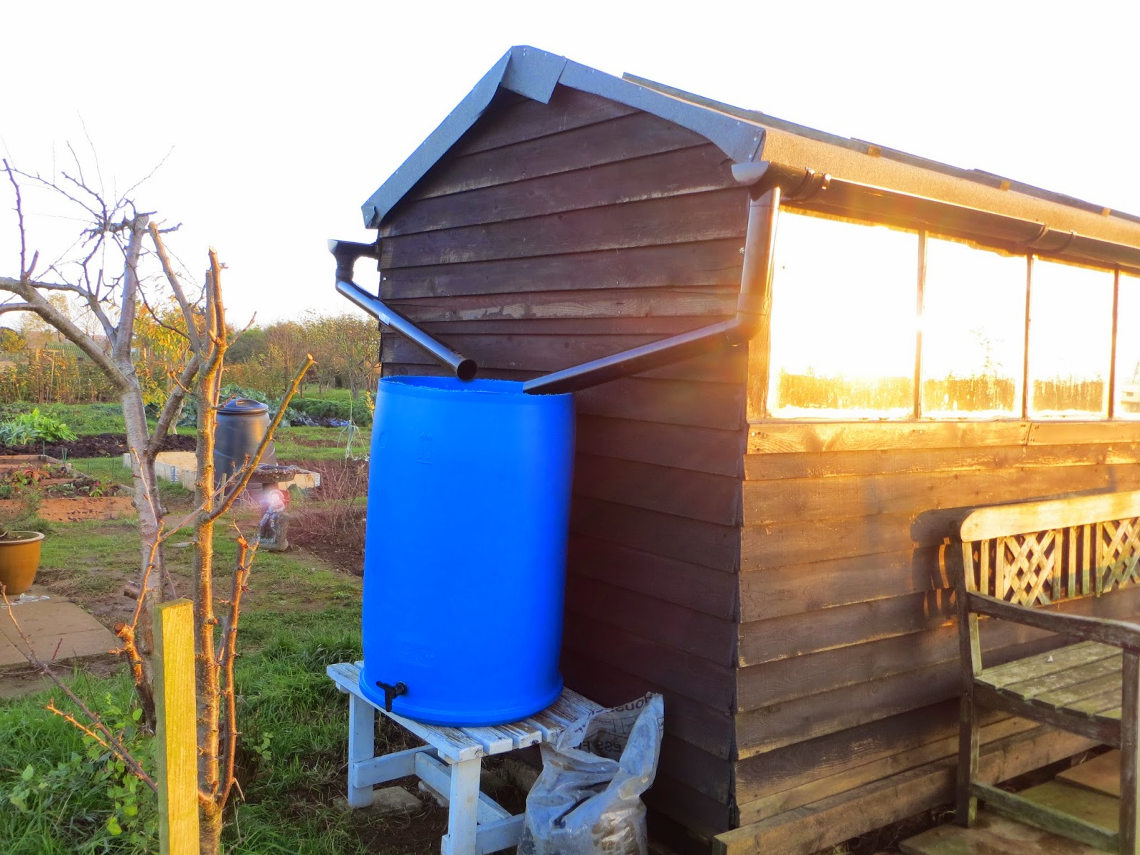 Water butts, guttering and rain.