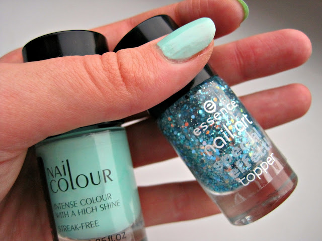 mint glitter nails australis sweet pea essence confetti glitter special effect topper swatch manicure