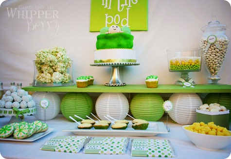 Party frosting peas in pod twin baby shower for Baby shower decoration ideas for twins