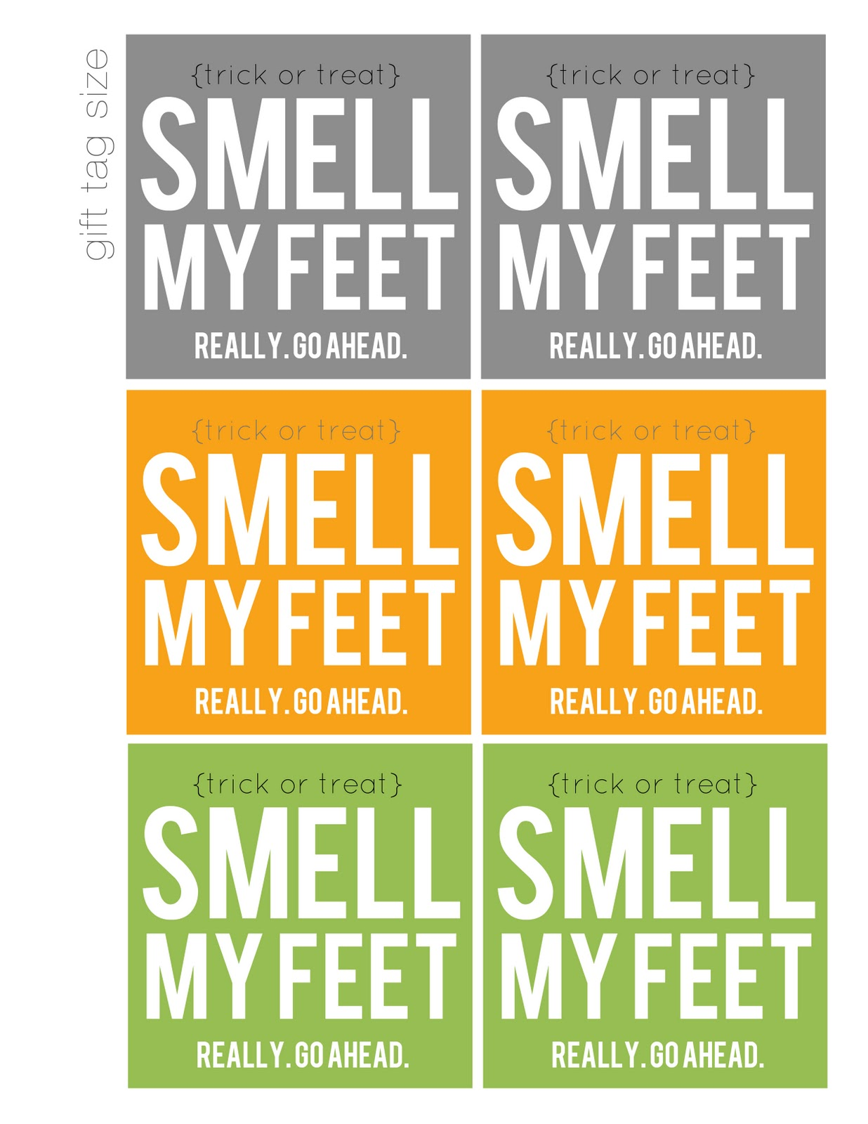 Smell my feet free printable halloween gift my sisters free printable halloween gift negle Image collections