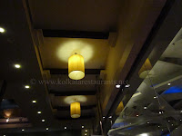 Top ceiling lights of restaurant interior of rajdhani kolkata