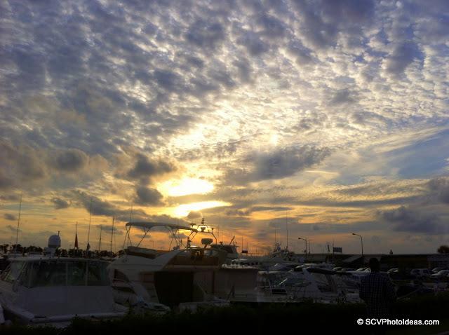 Overcast sunset on the dock
