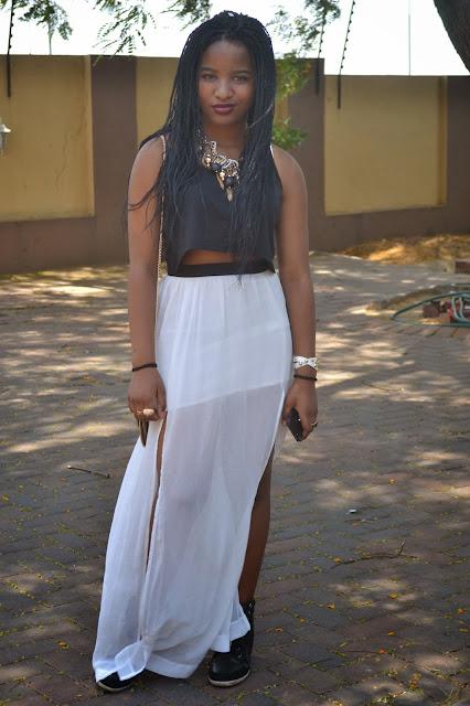 cokerockcorp, black crop top, maxi skirt, high slit