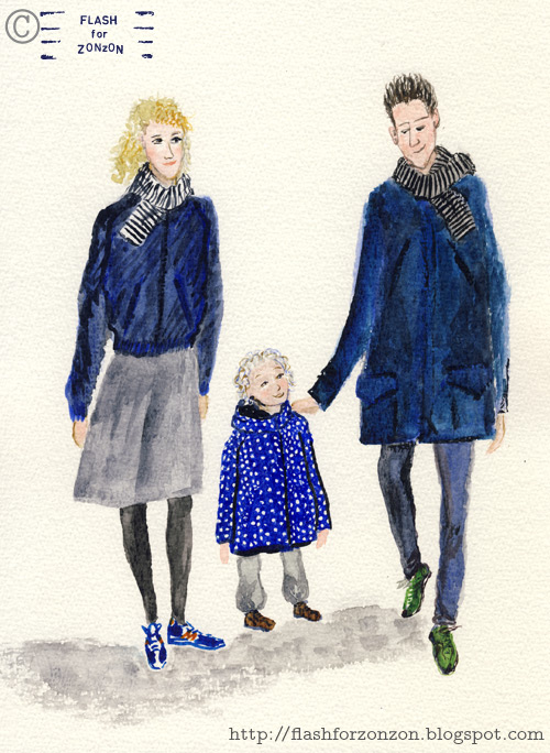 Street Style. Harmonious family in blue and grey.