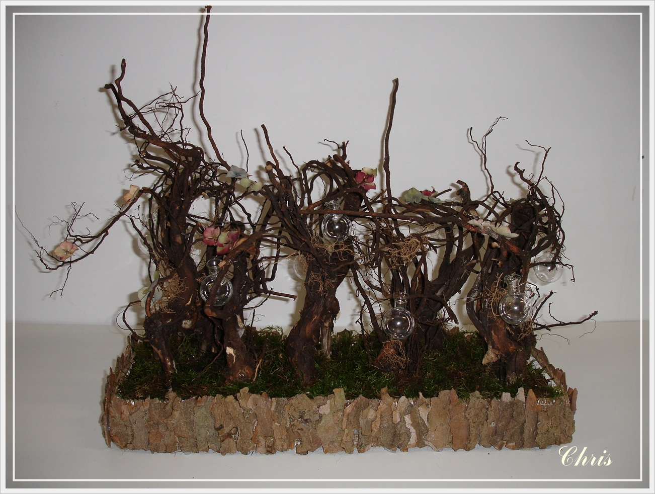 Rozen   kant en lavendel: bloemenboom