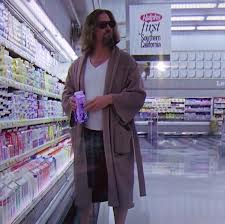 Jeff Bridges as the Dude, bathrobed and boxered in the grocery store with a hangover-hiding pair of sunglasses.