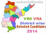 VRO VRA Selected Candidates List 2014, AP VRO VRA District Wise Selected Candidates, VRO VRA 2014 Shortlisted Candidates