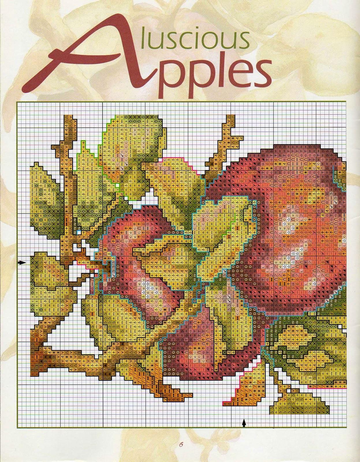 схема для вышивания персиков