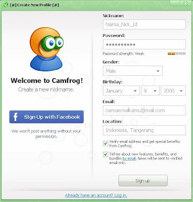 Register ID Camfrog Baru