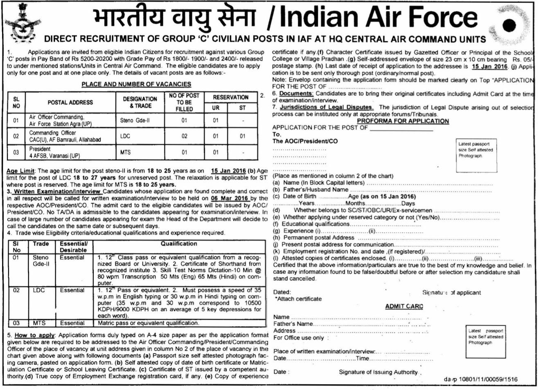 Indian Air Force Recruitment 2016 04 vacancy Steno LDC MTS Govt Job ...