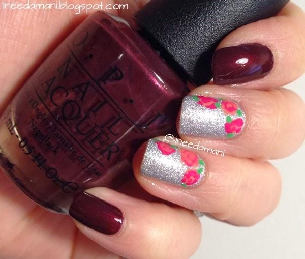 pretty roses valentine's day nails