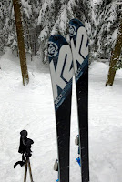 Cave glade, my skis.  The Saratoga Skier and Hiker, first-hand accounts of adventures in the Adirondacks and beyond, and Gore Mountain ski blog.