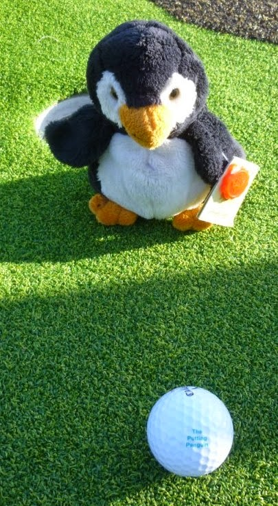 The Putting Penguin mascot at Putt in the Park Mini-Golf course in Wandsworth Park, London
