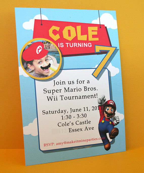 Super Mario Party Real Parties Ive Styled – Super Mario Bros Party Invitations
