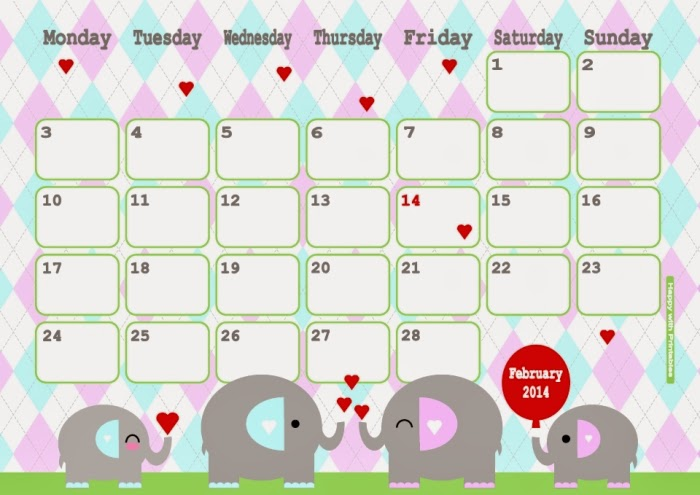 HappywithPrintables: Cute Kawaii february 2014 calendar