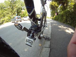 GoPro mounted on downtube