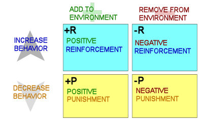 operant conditioning positive and negative reinforcement In the language of operant (skinnerian) conditioning, which along with respondent (pavlovian or classical) conditioning forms the twin pillars of behaviorism, positive means onset or commencement whereas negative means end or termination positive and negative have no other meanings in behaviorism.