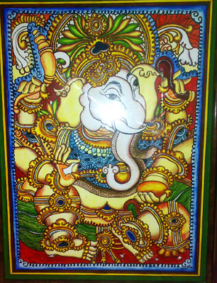 Gangotri my painting gallery lord ganapathi in mural for Mural ganapathi