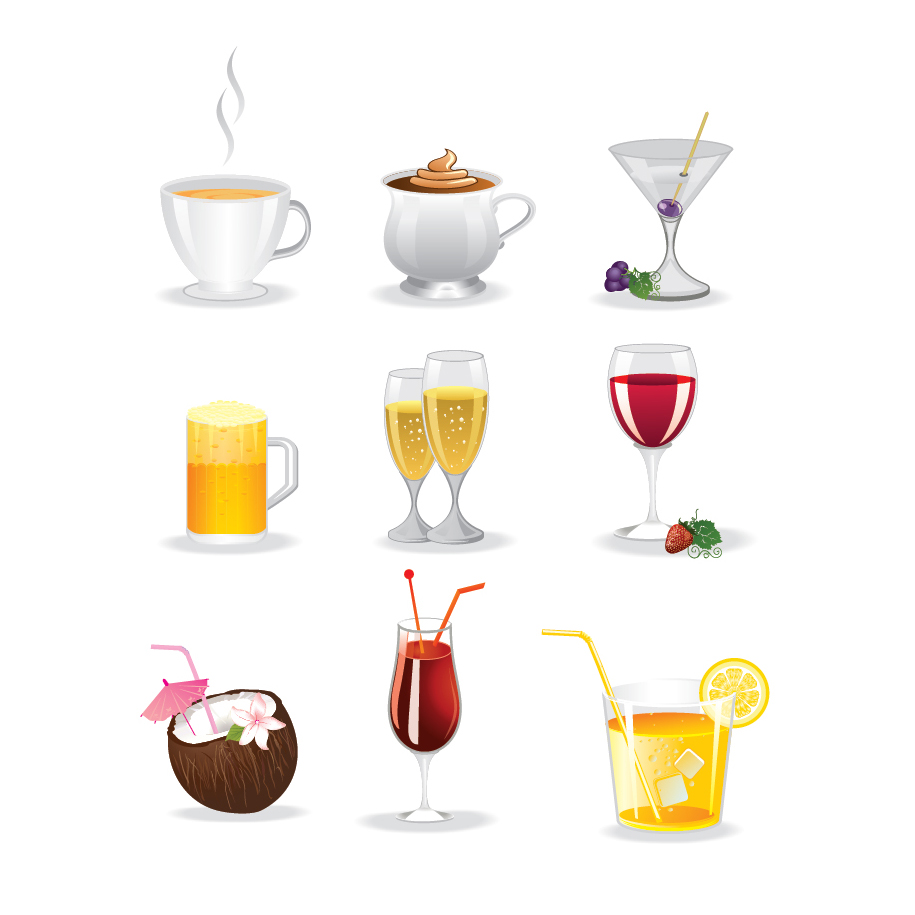 飲み物アイコン Colorful drinks icon set イラスト素材