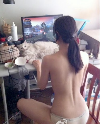 Perspective of Monk: Half naked hot girl playing WoW during hot summer
