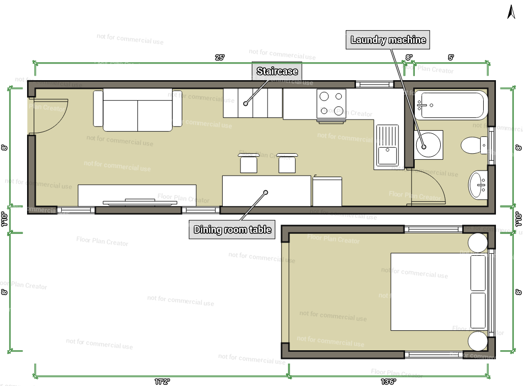 Tiny house without loft the loft tiny house swoon plans for Small house floor plans with loft